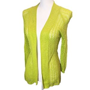 3/$20 Laura Ashley Lime Open Knit Cardigan Small